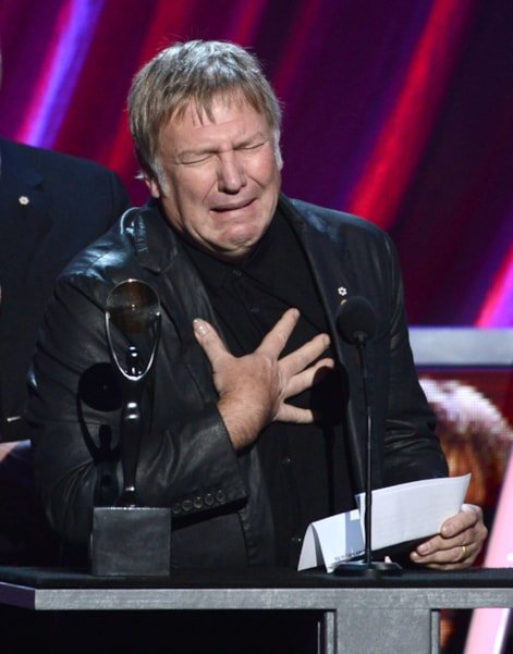LOS ANGELES, CA - APRIL 18:  Inductee Alex Lifeson of Rush speaks on stage at the 28th Annual Rock and Roll Hall of Fame Induction Ceremony at Nokia Theatre L.A. Live on April 18, 2013 in Los Angeles, California.  (Photo by Kevin Winter/Getty Images)