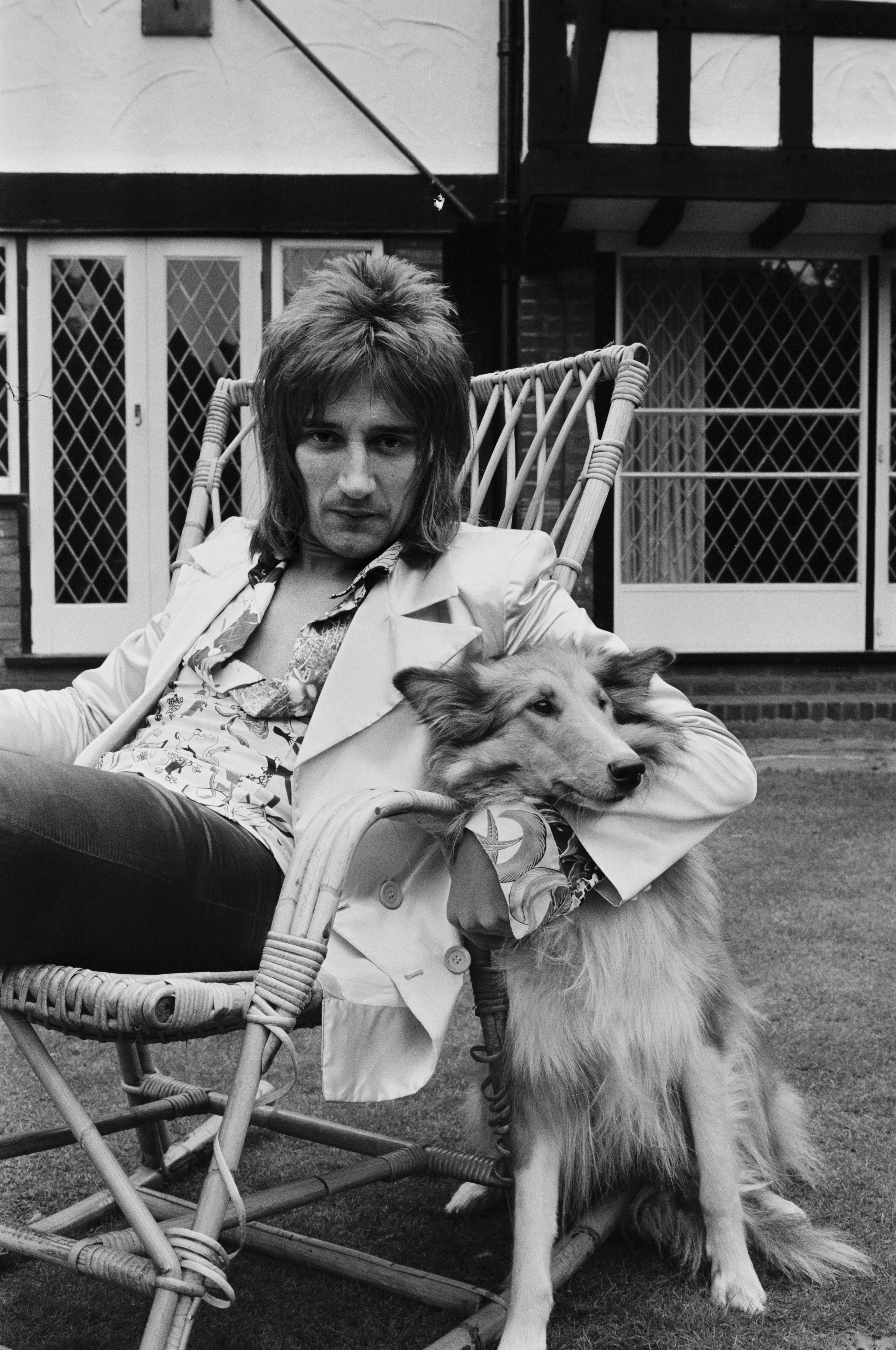 British rock singer Rod Stewart with one of his dogs, UK, 12th September 1971.  (Photo by Victor Blackman/Express/Hulton Archive/Getty Images)