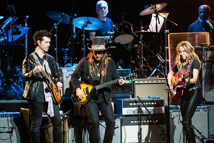 Doyle Bramhall II, Lukas Nelson and Sheryl Crow at Love Rocks (March 7, 2019) (photo credit Maria Ives)